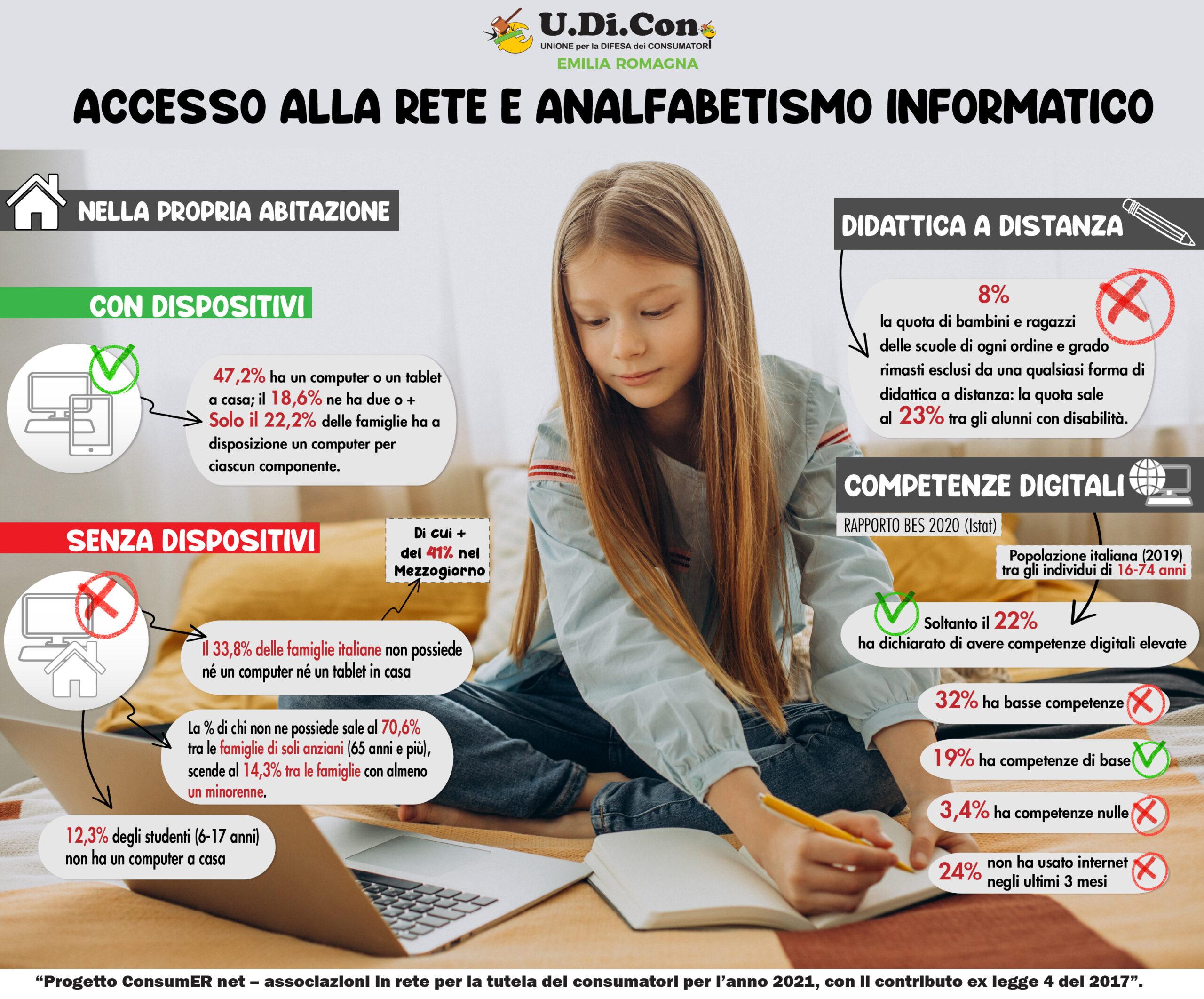 Infografica - Accesso alla rete e analfabetismo informatico